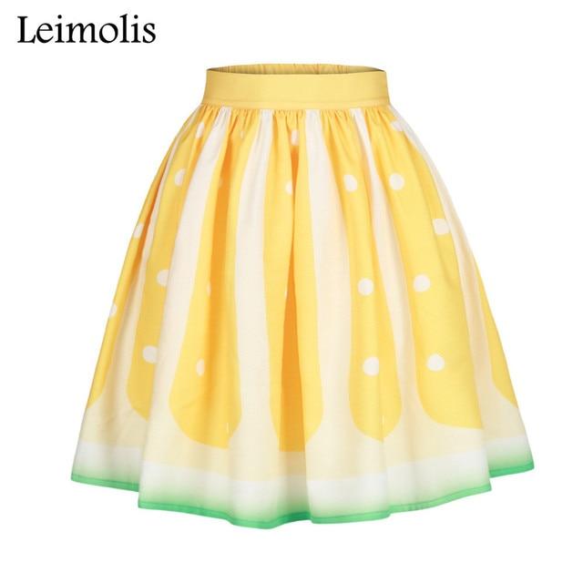 c63a5bd9ff Leimolis 3D print lemon Fruits skater sexy pleated lolita high waist long  skirt womens summer a-line