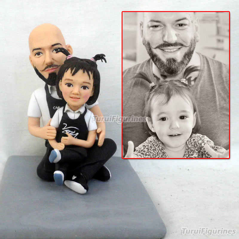 1f6c3a830f5a OOAK Miniature Dollhouse polymer clay doll figurine Handmade father and  daughter from picture real face doll