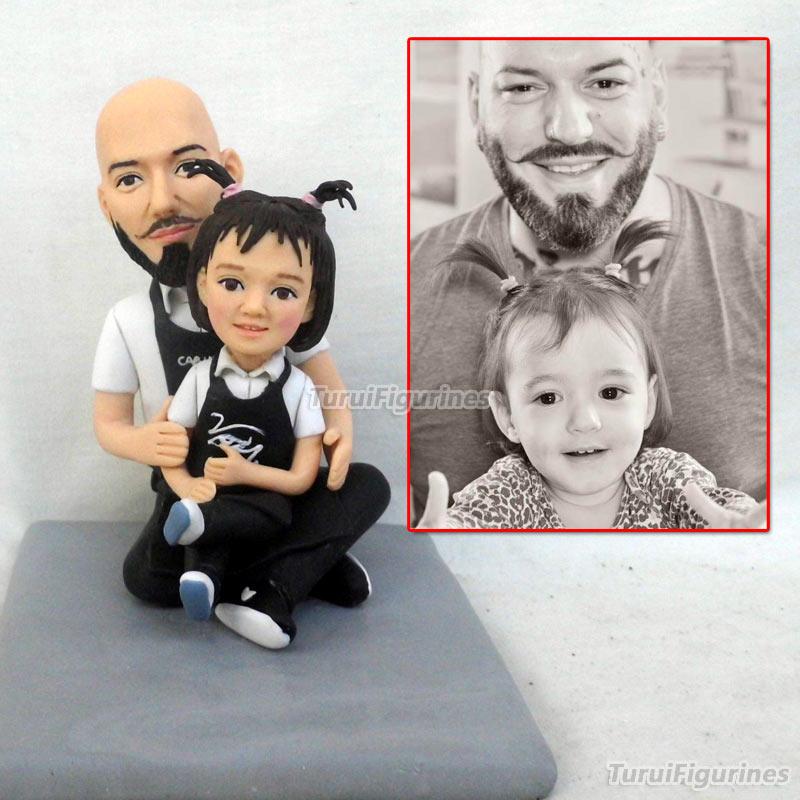 OOAK Miniature maison de poupée polymère argile poupée figurine à la main père et fille de l'image vraie poupée visage idées cadeaux personnalisés