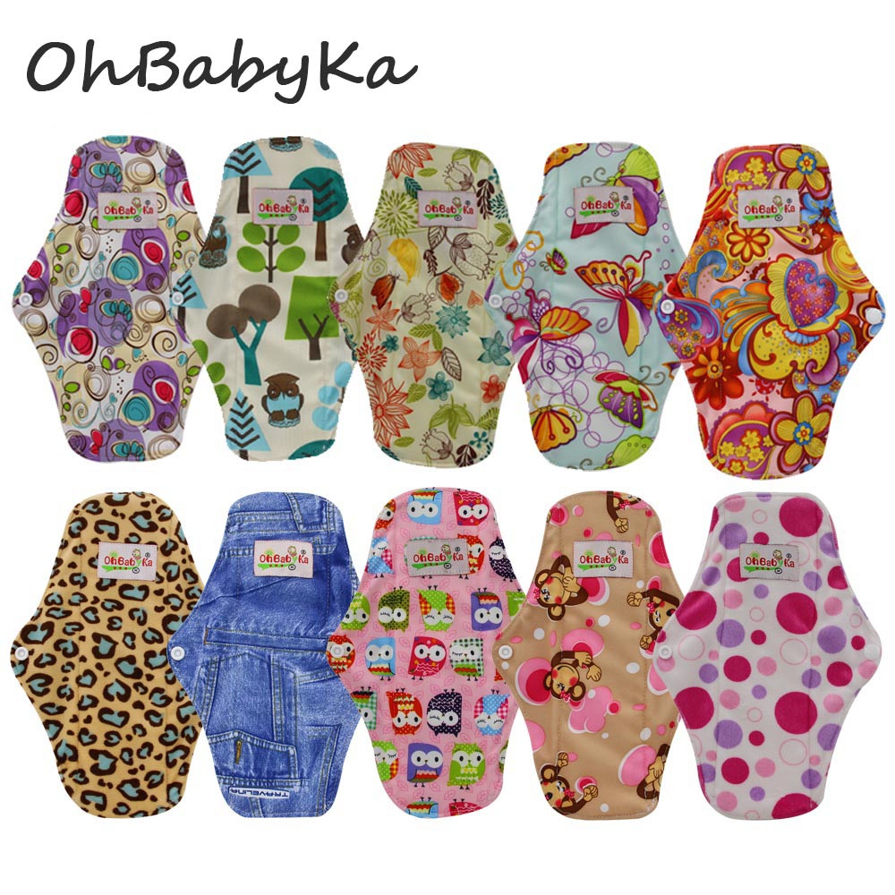 Ohbabyka 10pcs Menstrual Pads Reusable Cloth Sanitary Napkins Panty Pads With Premium Bamboo Fiber Absorbency Mothers Day Gift