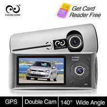 ChonChow Dual Dash Camera Car DVR X3000 R300 GPS Car DVRs Car Camera DVR Video Recorder Dash Cam Dashboard Portable Recorder