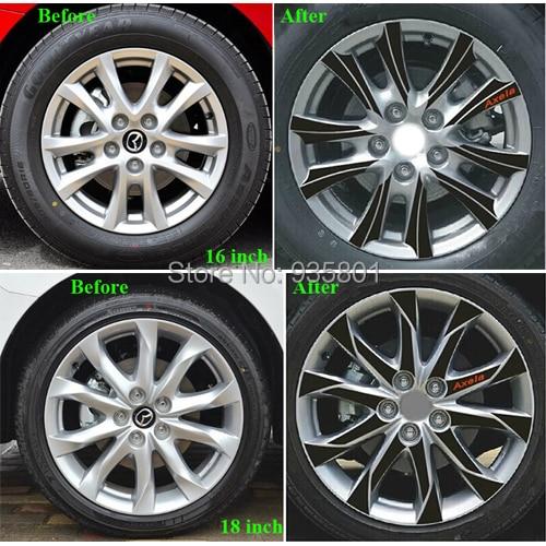 buy black wheel hub carbon fiber car stickers for new mazda 3 axela 2013 2014. Black Bedroom Furniture Sets. Home Design Ideas