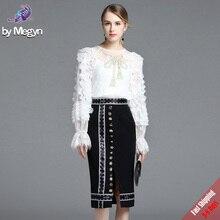 Fashion Designer Suit Set 2 piece Women's Sexy Long Lantern Sleeve White Lace Tops +Black Crystal Button Skirt Suit Set Free DHL