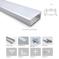 50 X 1M Sets/Lot anodized silver led aluminium profile and aluminum led channel with flange for ceiling or wall lamps