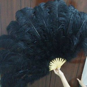 Image 2 - Big Ostrich Feathers Fan With Bamboo Staves for Belly Dance Halloween Party Ornament Decor Necessary, 13 bones
