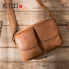 AETOO Men's Bag Shoulder Messenger Bag New Leather Messenger Pouch Leisure Coffer First Layer Cowhide Bag men bag все цены