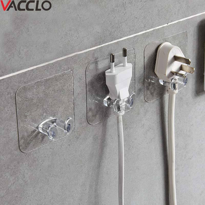Vacclo 4pc Adhesive Storage Hook Shelf Holder Power Plug Holder Rack Kitchen Tool Bathroom Organizer Socket Wall Mounted Hanger