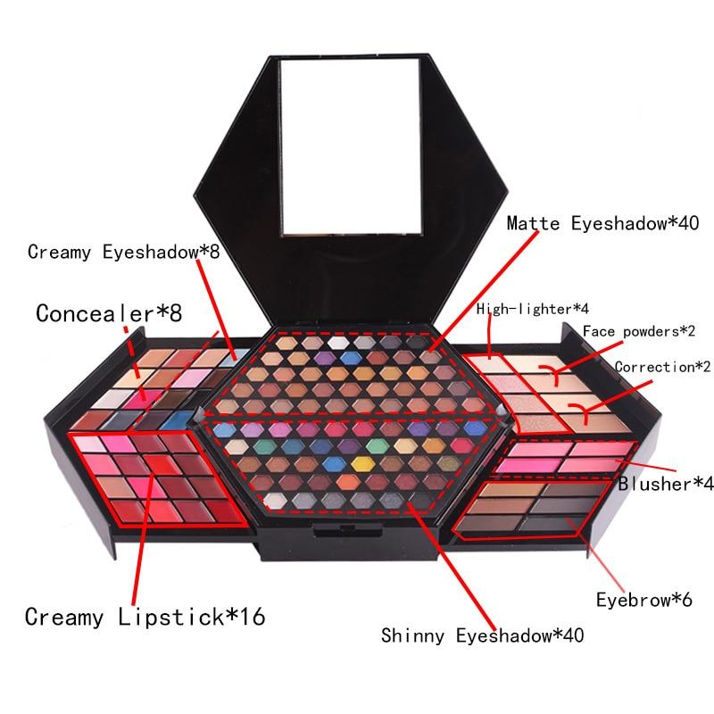 Miss Rose professional makeup set makeup box glitter shimmer matte eyeshadow Powder Palette lip gloss blush brush makeup tools