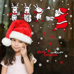 Image 3 - Наклейки на стену с изображением Санта Клауса, настенные художественные съемные наклейки для дома, украшения для вечеринки, рождественские наклейки на окно, 2019