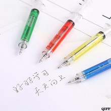 DROP Kapal & Grosir 4Pcs Novelty Injeksi Jarum Suntik Gel Pena Ballpoint Tinta Hitam Cair Cair Gaya APR28(China)