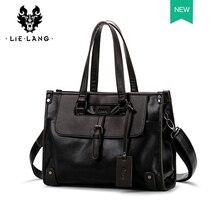 Briefcase Men bag Leather Black bag handbag men leather Casual Travel Cross Section Leather Laptop Bag Male цены