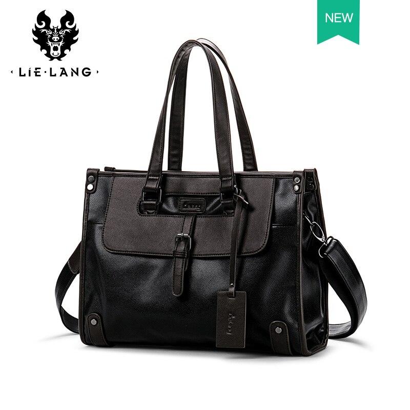 Men Briefcase bag Leather Black handbag men leather Shoulder Messenger Bags Casual Travel 15 inch Laptop Bag