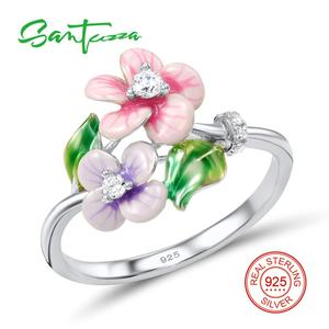 Image 3 - SANTUZZA Schmuck Set Für Frauen 925 Sterling Silber Zarten Rosa Blume Ring Ohrringe Anhänger Mode Schmuck HANDMADE Emaille
