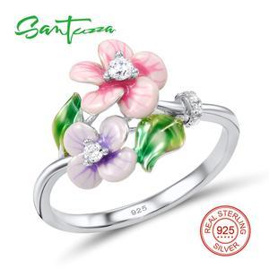 Image 3 - Santuzza Sieraden Set Voor Vrouwen 925 Sterling Zilver Delicate Roze Bloem Ring Oorbellen Hanger Mode sieraden Handgemaakte Emaille