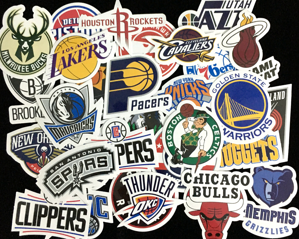 NK 30 Pcs/Lot NBA Club Logo Stickers Waterproof Sticker For Car Laptop Trunk Skateboard Guitar Bicycle Decal Car-Styling car styling for english french bulldog pet dog paws love hearts car window laptop decal sticker