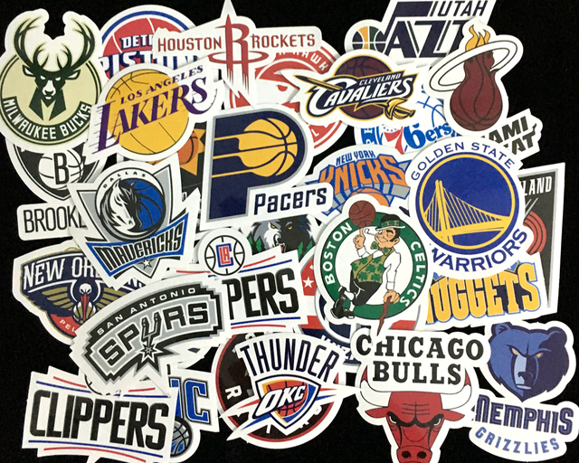 Nk 30 pcs lot nba club logo stickers waterproof sticker for car laptop trunk skateboard