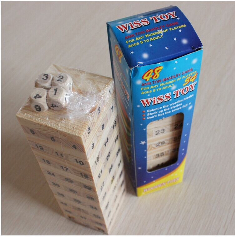 2017 TOP Sales high quality 3D Wood wooden Jenga Stacking Game 54 Brain Teaser Puzzle font