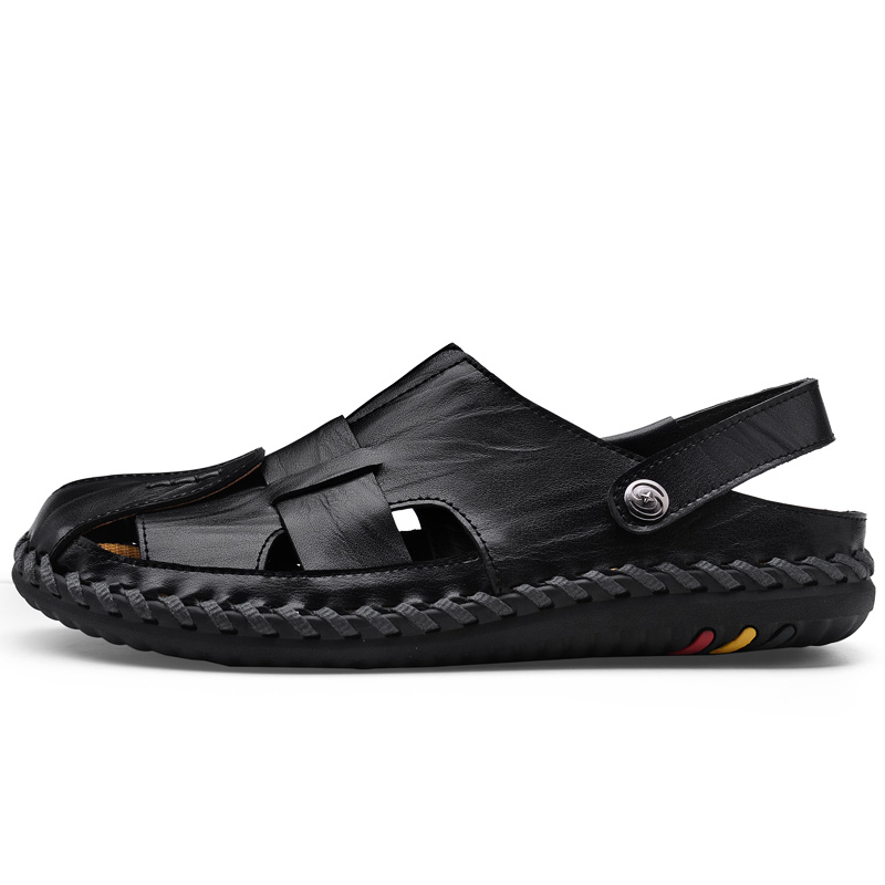2018 new style baotou fashion casual leather breathable quality sandals prevent slippery and wear-resisting Men Shoes