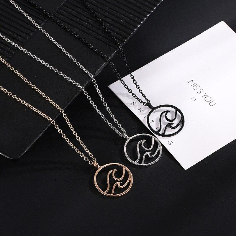 Лидер продаж, модное круглое ожерелье с подвеской в виде морских волн для женщин, ювелирные изделия для океанской жизни, подарки
