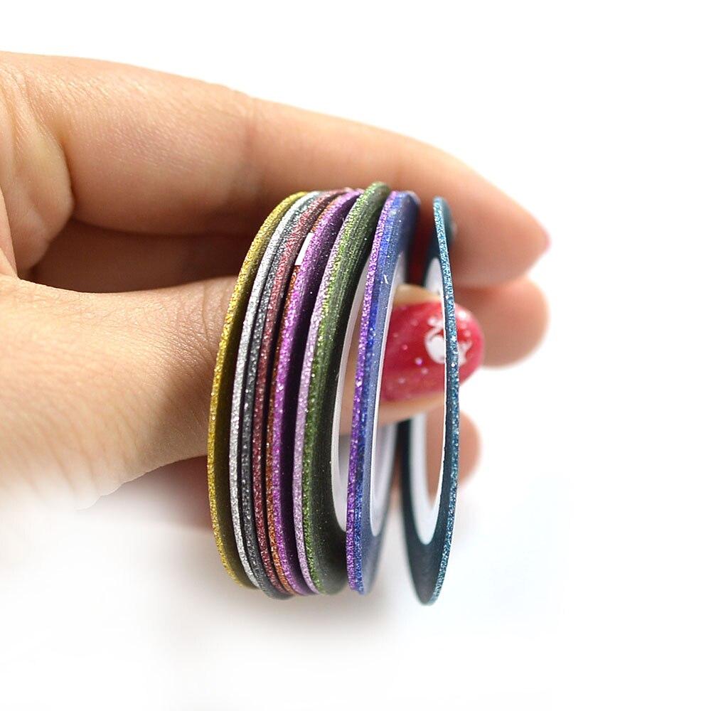 12 Farben/lot 1mm Glitter Nagel Stripingklebebandnagelkunst Linie ...