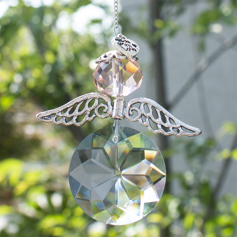 H&D Crystal Suncatchers Chandelier Hanging Guardian Angel Pendant Ornament Windows Rainbow Maker Home Christmas Decor Gift