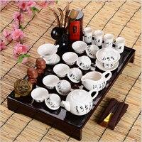 Chińskie Kung Fu Zestaw Herbaty Drinkware ręcznie napisać Tang poezja obejmują tacy herbatę, Waza Zaparzaczem Herbaty Tacy opakowania na prezenty teaset