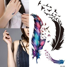 Women Trendy Waterproof Small Fresh Wild Goose Feather Pattern Tattoo Stickers Photo Color Charming Body Accessories