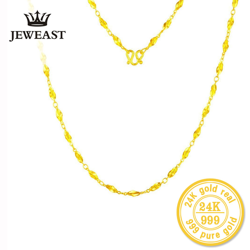 цена на ZZZ JEWEAST 24k Pure Gold Necklaces Long Chain Wedding Fine Jewelry For Women Exquisite Romantic Lady Gift Upscale Hot Sell