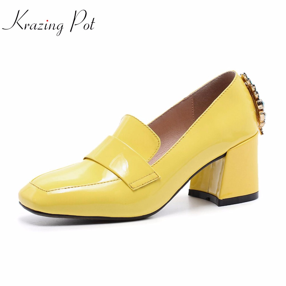 Krazing pot new shoes women fashion cow leather square toe preppy style high heels metal fasteners pumps crystal pearl shoes L26 krazing pot new fashion brand shoes patent leather square toe preppy style low heel sweet ankle strap women pumps mary jane shoe