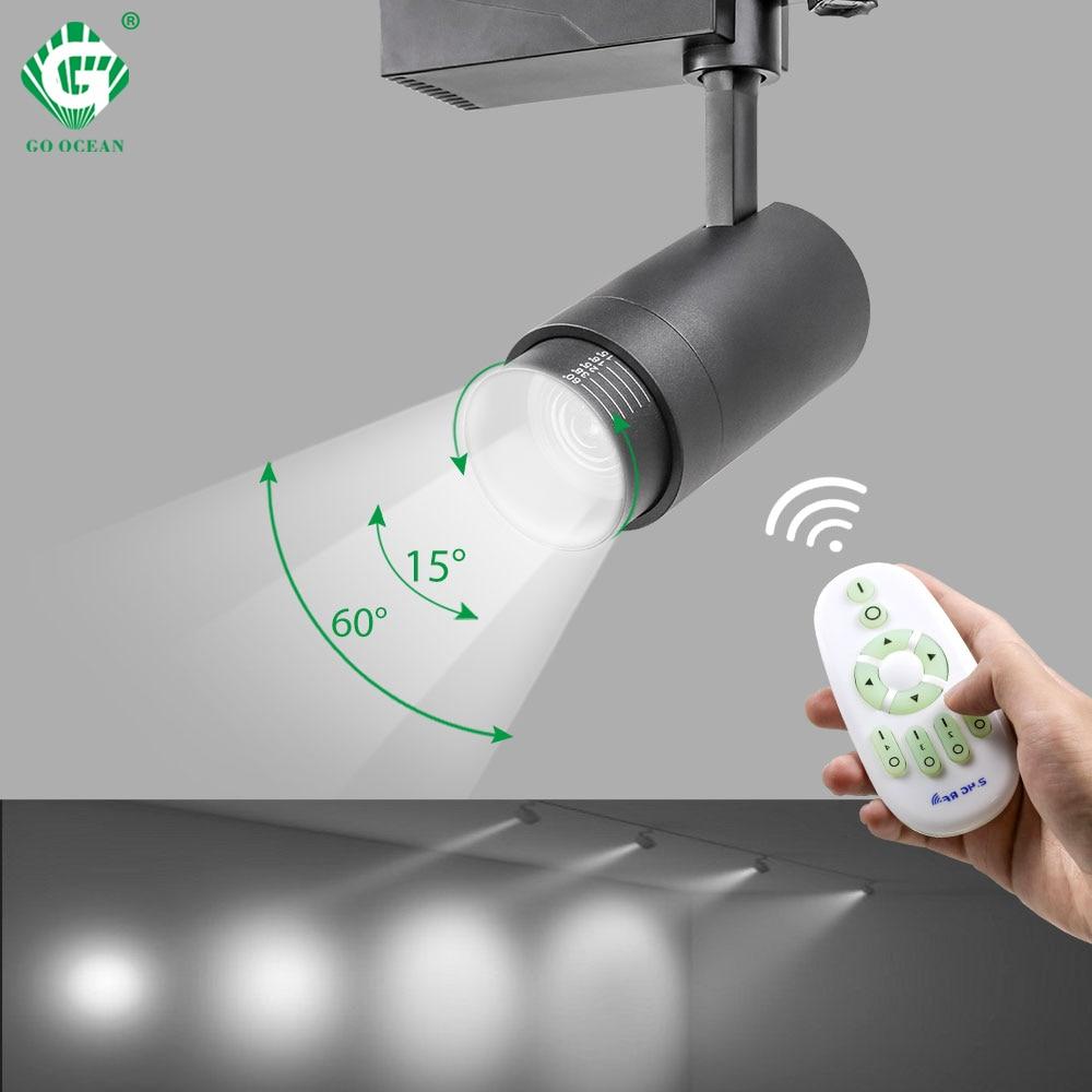 2.4G Sem Fio RF Sistema de Controle de LED Faixa de Luz Brilho CCT Regulável Zoomable Luzes Da Trilha 20W Alumínio Iluminação Interior