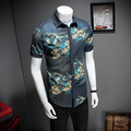 2017 New Arrival M-5XL Denim Floral Short Sleeve Men Shirt Mens Dress Shirts Male Clothes Social Casual Shirt Men Brand CD205