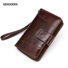 2018 GENODERN New Clutch Wallet for Men Big Long Men Wallet with Cell Phone Holder Wristlet Clutch Bag(China)