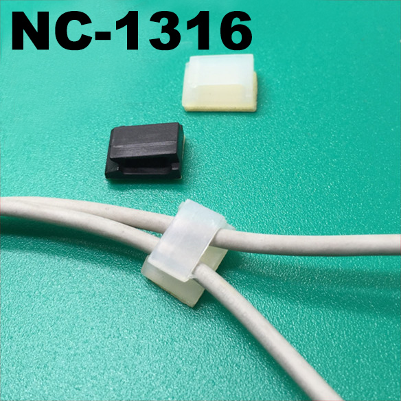 50pcs NC-1316 15.7x12.7mm Black White Stick Fixed Seat Nylon Plastic Self Adhesive Tie Base Car Recorder Cable Wire Clamp Clip