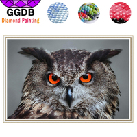 GGDB 5D DIY Strass Diamant Malerei Kreuzstich Schwarze Eule 3D Quadratischen Muster Tier Mosaik Diamant Stickerei Rot Eyed Owl