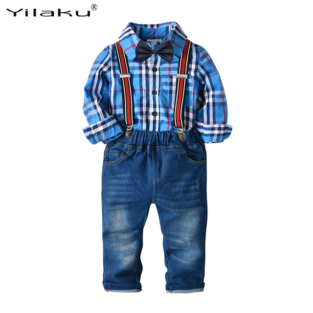 8fb7c2a667833 Yilaku Autumn toddler boy clothes Set Bow Tie Shirts + Suspenders Pants  boys set children clothing Gentleman Suit CF586