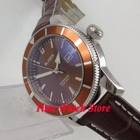 Luxury Bliger 46mm coffee dial luminous screw in crown brown bezel deployant clasp Automatic men's watch BL97