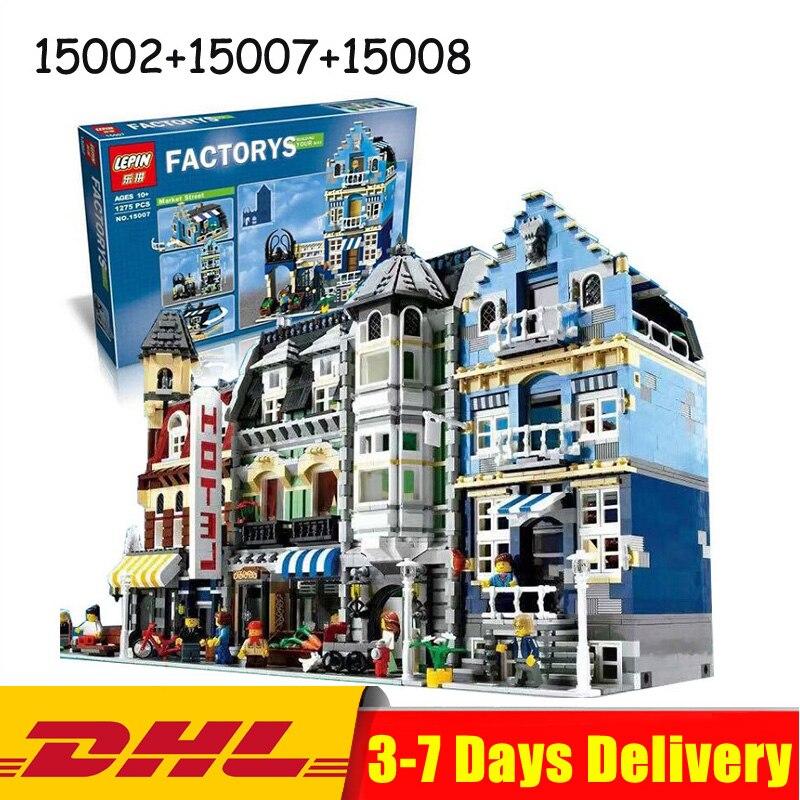 Lepin 15002 Cafe Angolo + 15007 Strada del Mercato + 15008 Verde Grocer Modello di Mattoni Blocchi Giocattolo Regali Legoings 10182 10190 10185