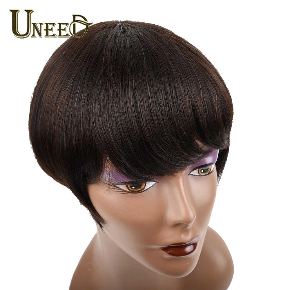 Uneed Saç 130% Yoğunluk Kısa Bob Peruk Perulu düz insan saçı Peruk Kadınlar Için Doğal Siyah Olmayan Remy Saç Ücretsiz Kargo