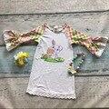 Новорожденных девочек пасхальный кролик одежда дети пасха партии dress девушки банни dress lace ruffle dress Azect рукава с аксессуарами