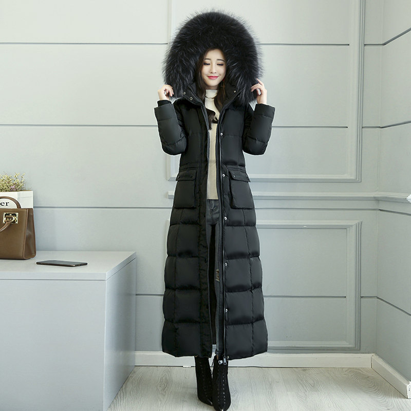 Con capucha de Cuello de piel X-Largo abajo chaqueta de las mujeres espesar abrigo de invierno las mujeres pato blanco abajo chaqueta negro caliente parka abrigo C5037