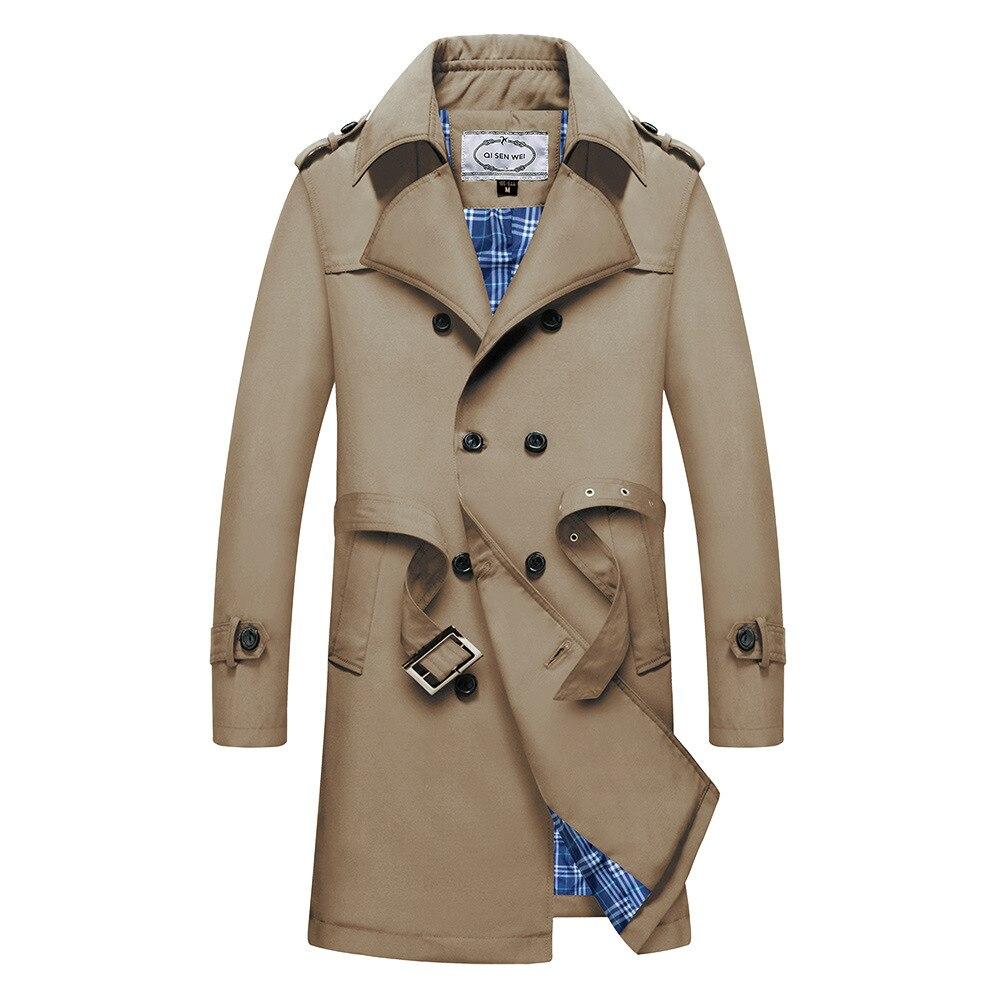 2019 New   Trench   Coat Men Jacket Overcoat Casual Men's windbreakers Solid Color X-Long Men Fashion Autumn Jackets