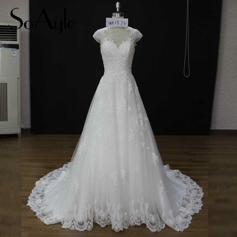 Elegant Lace Sleeve Short Wedding Dresses 2016 Scoop Neck: SoAyle Vestido De Noiva Wedding Dress Real Sample 2016