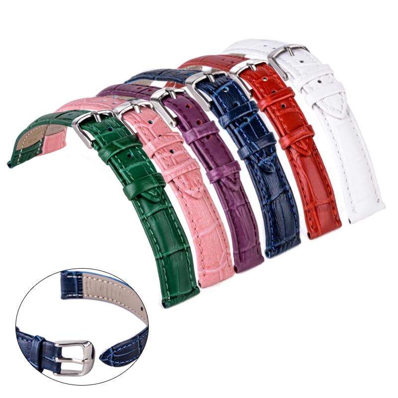 Pulseira de couro genuíno 12mm 18mm 20mm 14mm 16mm 22mm Relógio de pulso Banda relógio acessórios doces colorido Pulseira