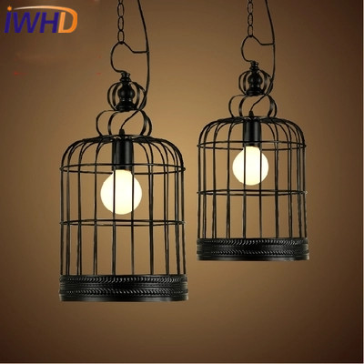 IWHD Iron Led Pendant Light Fixyures Style Loft Vintage Industrial Retro Lights Bird Cage Hanging Lamp Black Kitchen Lamparas