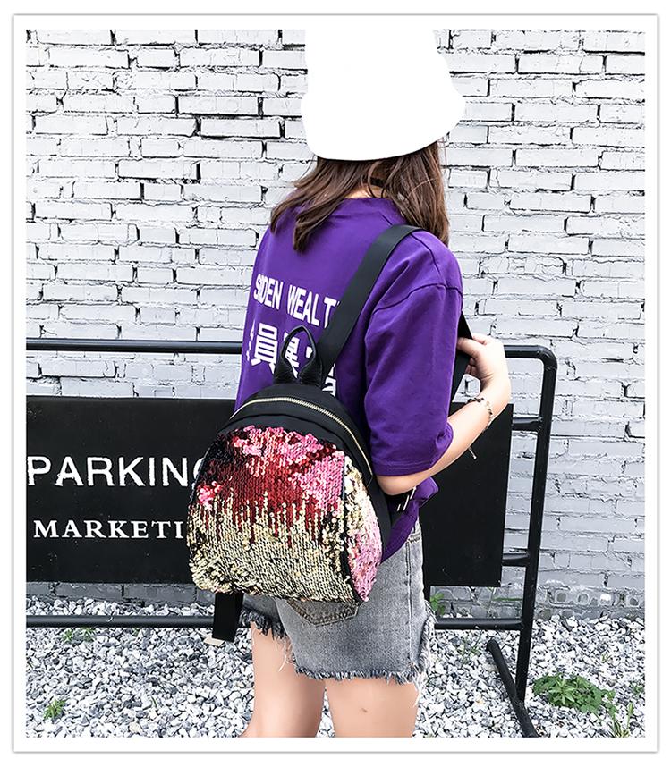 Backpacks women Korean mini 2018 new sequined shell fashion trend women go with small backpacks travel backpack 76