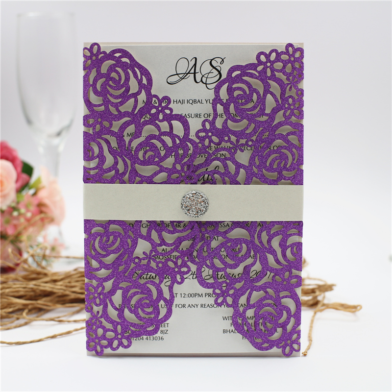 Gold And Purple Wedding Invitations: 50pcs Glitter Wedding Invites With Diamond Belly Band 2019