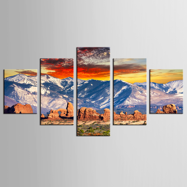nouveau 5 panneaux toile peinture montagne de neige pierre paysage imprime moderne toile d 39 art. Black Bedroom Furniture Sets. Home Design Ideas