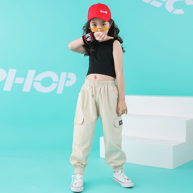 Child Cool Hip Hop Clothing Running Casual Pants Black Tank Top Crop For Girls Jazz Dance Costume Wear Ballroom Dancing Clothes