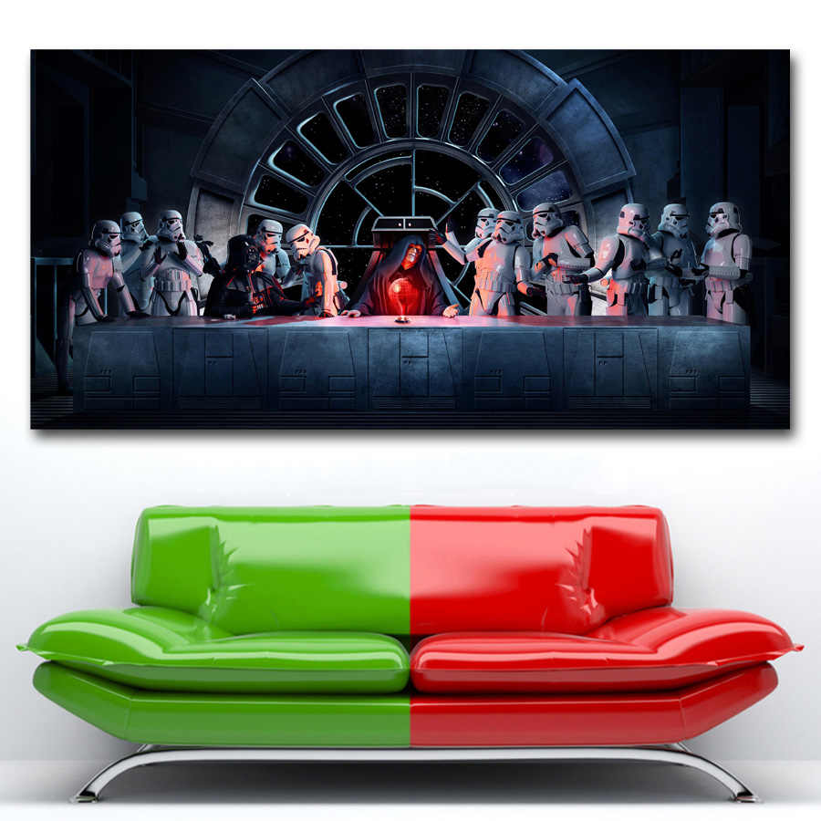 Star Wars The Last Supper Stormtrooper Darth Vader Palpatine Wall Art Poster Canvas Painting Silk Printed For Room Decor Aliexpress