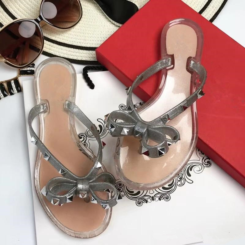 1c841e900a9786 Women summer bowtie Jelly flip flops Fashion rivets thong sandals Chic  beach jelly shoes EU35 41 size BY403-in Slippers from Shoes on  Aliexpress.com ...
